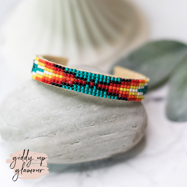 Navajo | Aztec Beaded Cuff Bracelet in Turquoise Blue #2