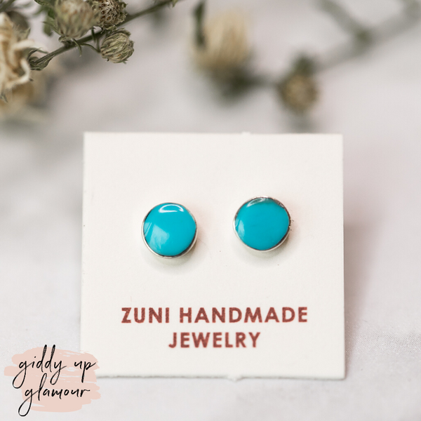 Zuni | Genuine Navajo Sterling Silver Round Circle Stud Earrings in Turquoise