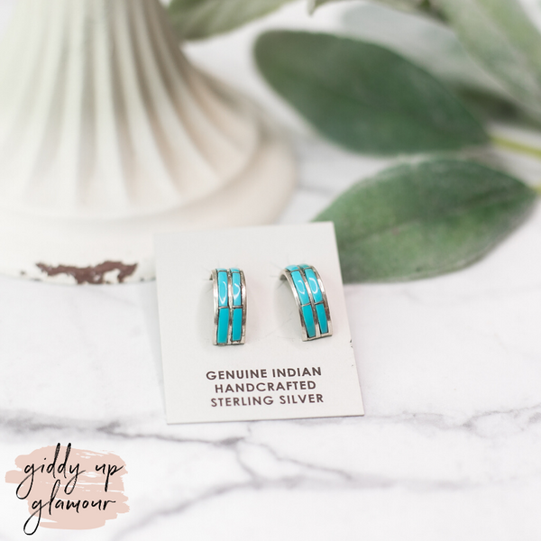 Navajo | Small Sterling Silver with Turquoise Hoops