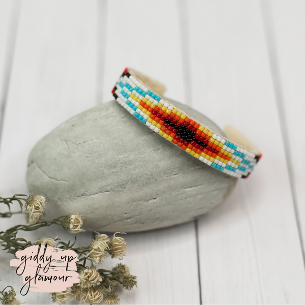 Navajo | Aztec Beaded Cuff Bracelet in Sky Blue #3