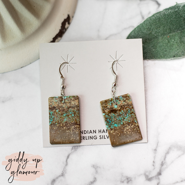navajo zuni nations native american indian handmade handcrafted turquoise number #8 slab earrings mined heritage style turquoise and co c rivers designs our lady turquoise lil bees bohemian