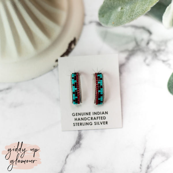 Navajo | Small Multi Colored Aztec Beaded Hoop Earrings in Turquoise Blue #3