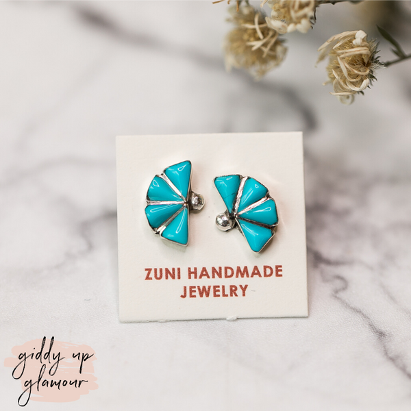 Zuni | Small Sterling Silver with 4 Turquoise Triangles Studs