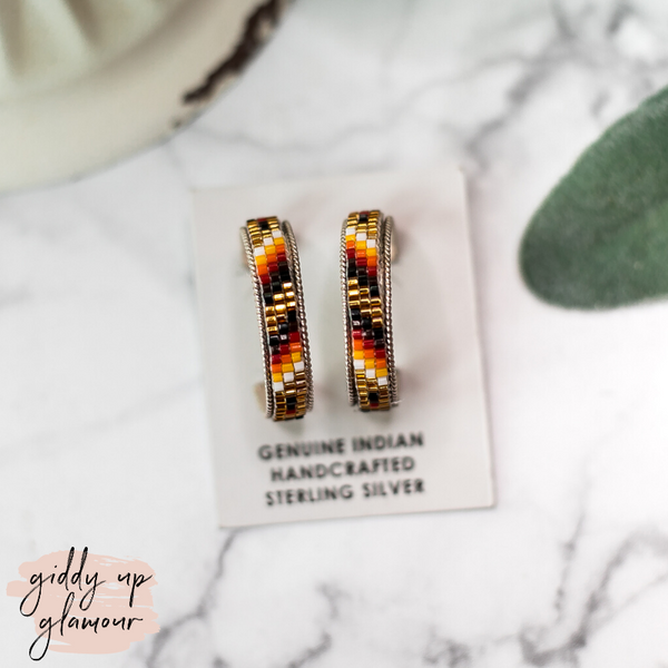 Navajo | Multi Colored Aztec Beaded Hoop Earrings in Bronze #1