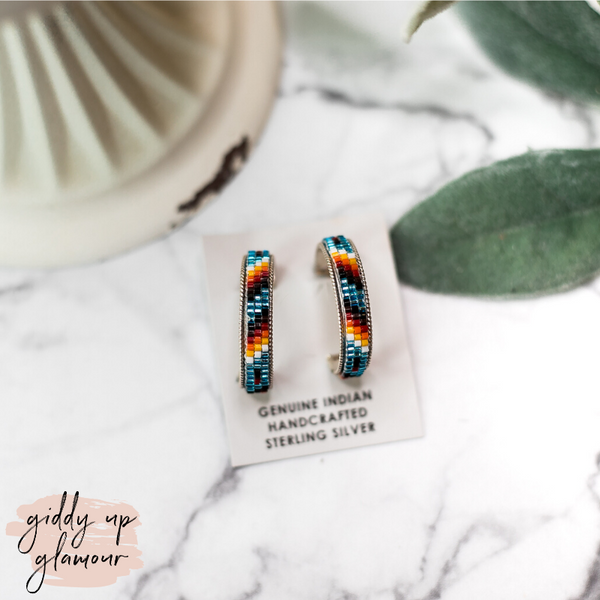 Navajo | Multi Colored Aztec Beaded Hoop Earrings in Metallic Blue #1