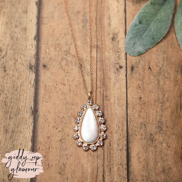 Crystal Teardrop Pendant Necklace in Silver and Gold