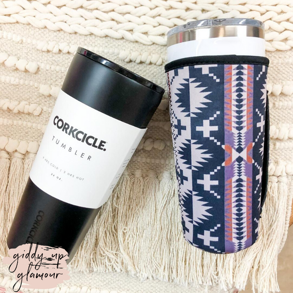 Aztec Tumbler Drink Sleeve in Black