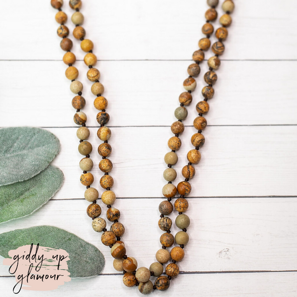 60 Inch Long 8mm Beaded Layering Necklace in Wooden Agate