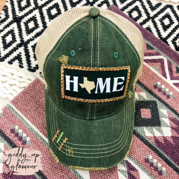 Crystal Home Ball Cap in Green and Gold