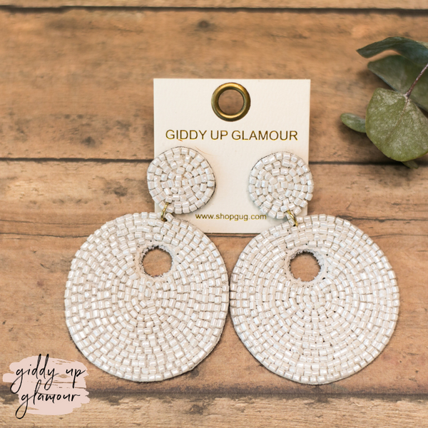 Beaded Statement Earrings in White