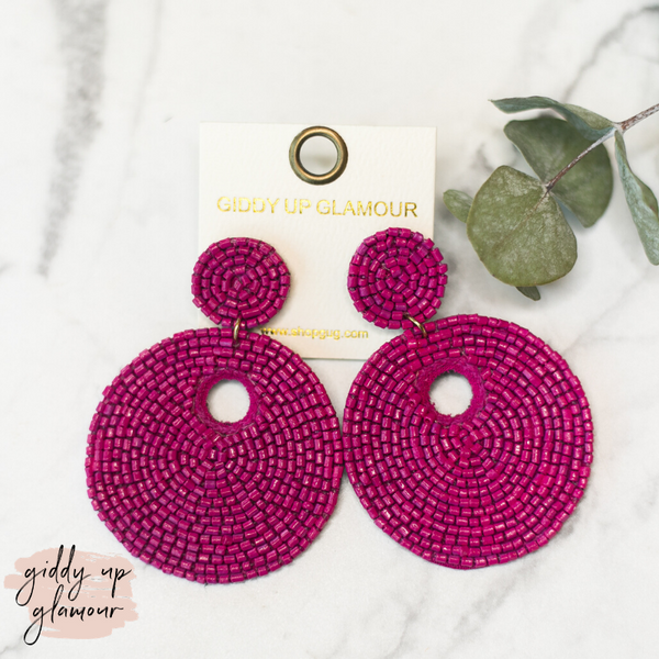 Beaded Statement Earrings in Fushia