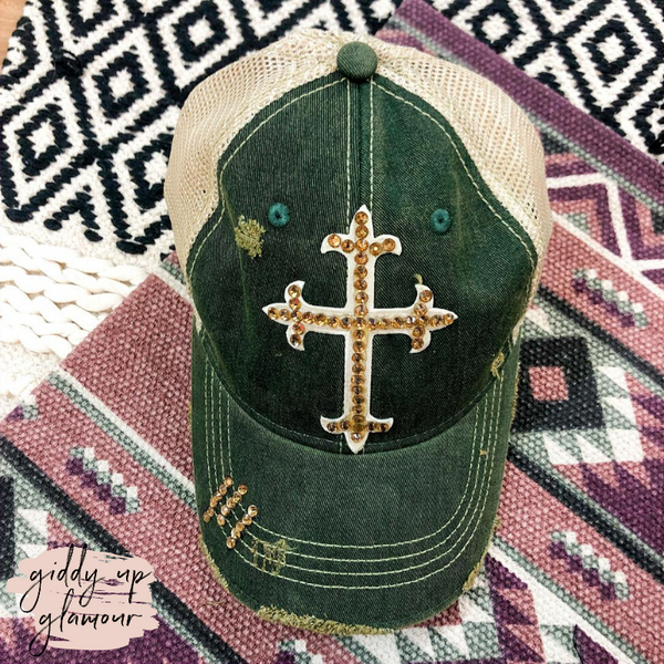 Swarovski Crystal Cross Ball Cap in Green and Gold