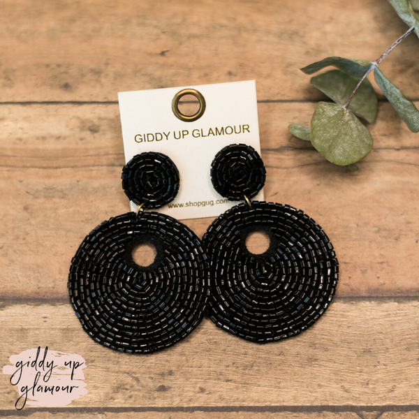 Beaded Statement Earrings in Black