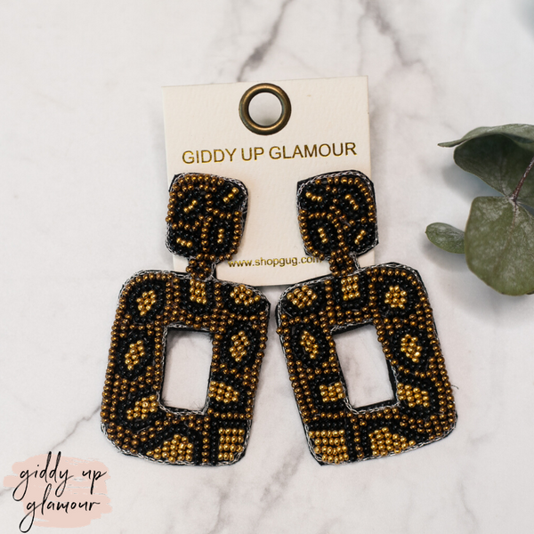 Beaded Rectangle Drop Earrings with Crystals in Brown Leopard Print
