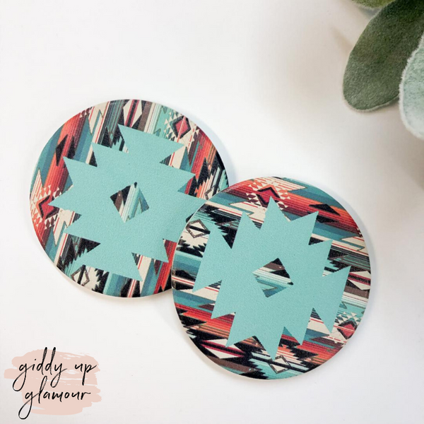 Set of Two | Mint Navajo Car Coasters