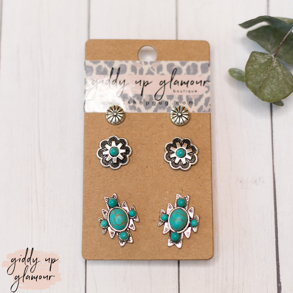 Set of Three Western Earrings- Silver Stud, Turquoise Stone Flower & Aztec Symbol