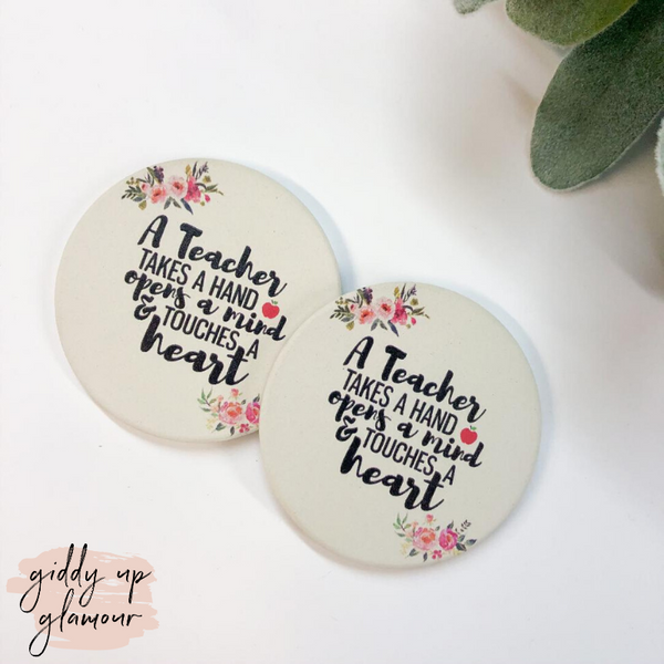 Set of Two | Teacher's Heart Car Coasters