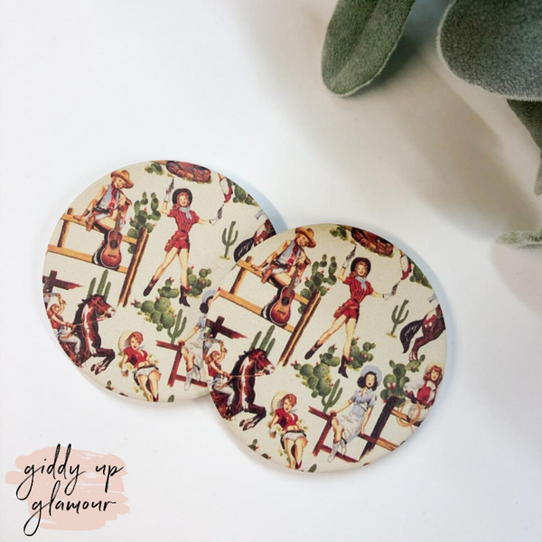 Set of Two | Western Cowgirl Car Coasters