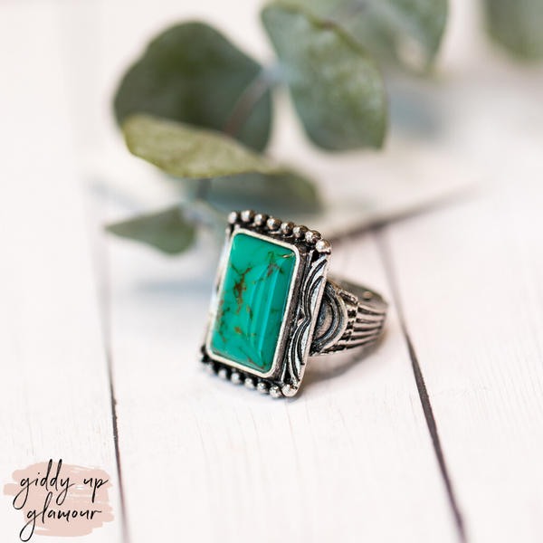 Rectangle Turquoise Stone Stretch Ring
