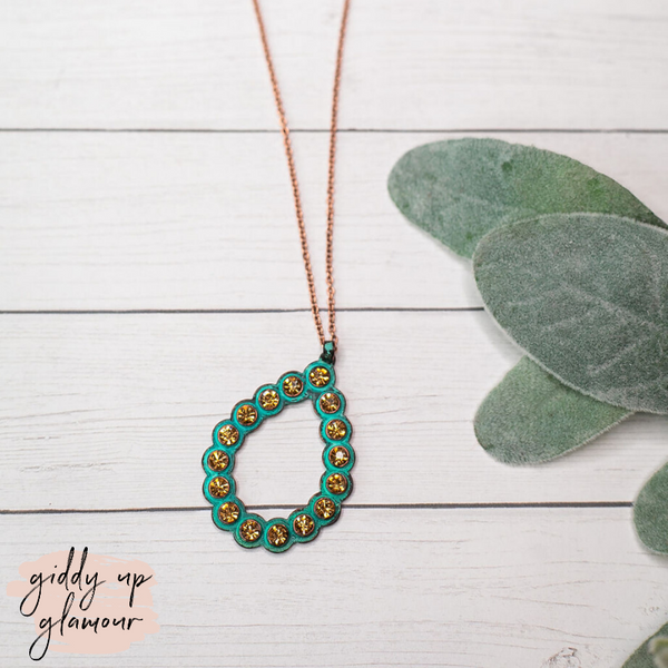 Turquoise Teardrop Pendant Necklace with Gold Crystal Studs