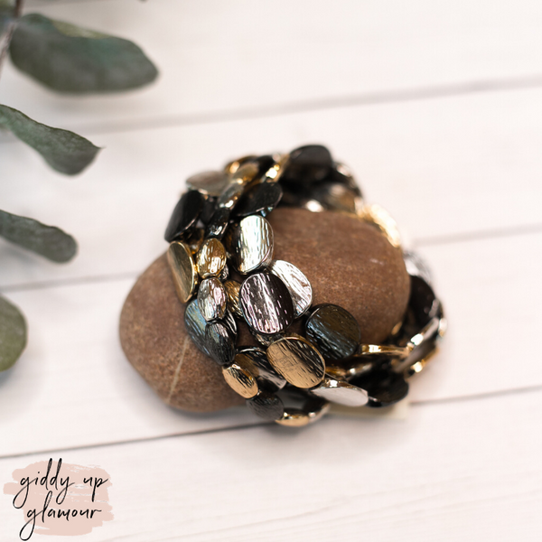 Set of 5 Bracelets in Metallic Gold, Black and Silver