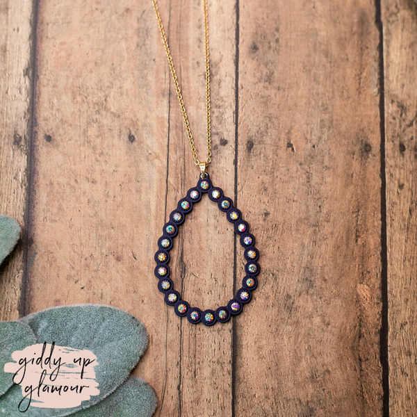 Navy Teardrop Pendant Necklace with AB Crystal Studs