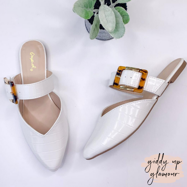 Picture Perfect Buckle Mule Flats in White Croc