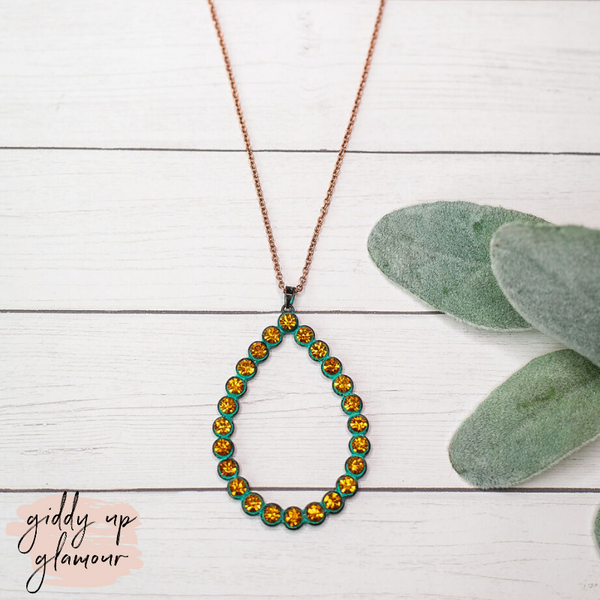 Turquoise Teardrop Pendant Necklace with Yellow Crystal Studs