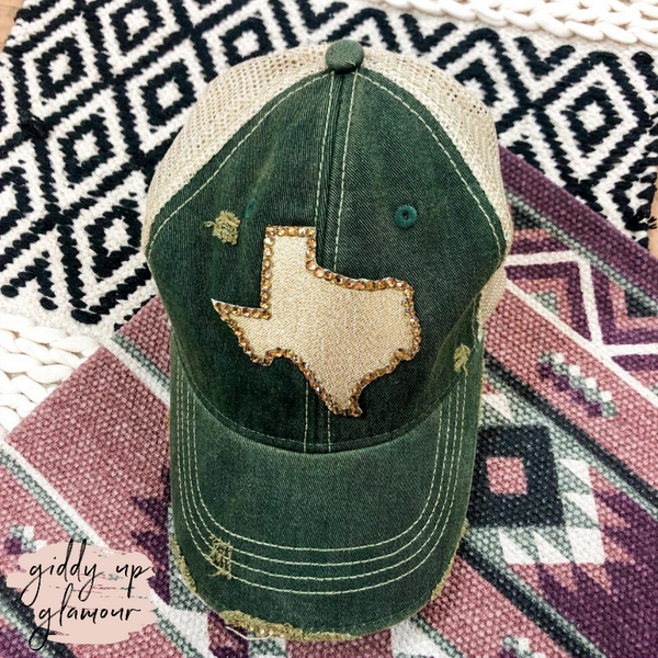 Crystal Texas Ball Cap in Green and Gold