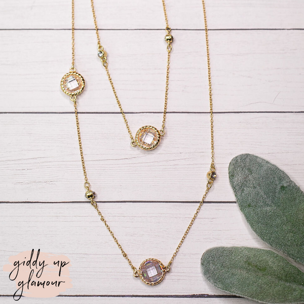 36 Inch Gold Chain Layering Necklace with Clear Crystal Circle Charms