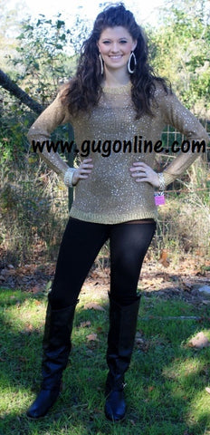 Add Some Sparkle Sequin Sweater in Gold