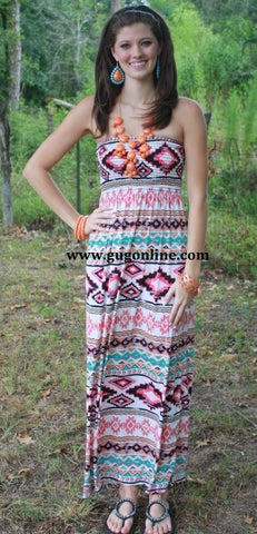 Adorable Aztec Maxi Dress in Pink