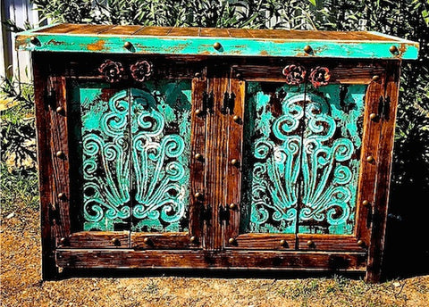 Handmade Rustic Agave Four Door Buffet in Turquoise