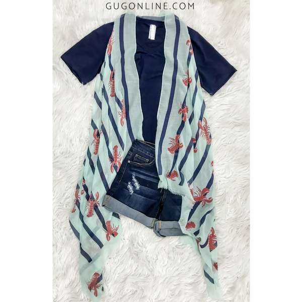 Born On the Bayou Sheer Crawfish Vest in Mint with Navy Stripes