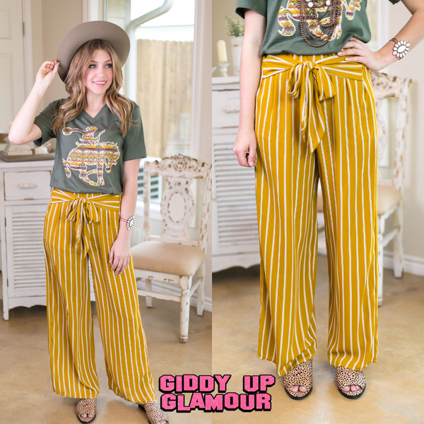 Out Of Bounds Stripe Wide Leg Pants in Mustard Yellow