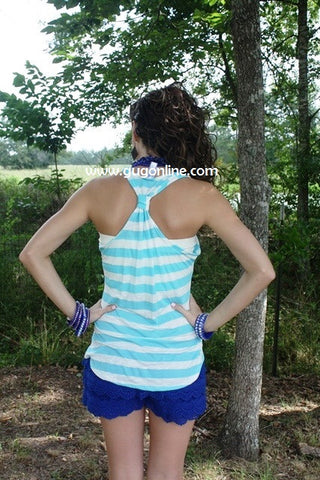 Anchors Away Light Blue Striped Tank