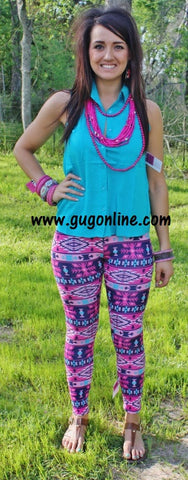 Aztec Dreams Leggings in Hot Pink