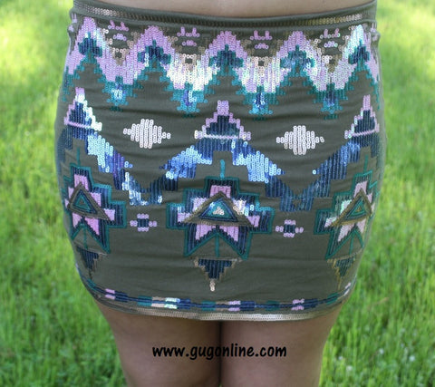 Aztec Glitz Skirt in Olive