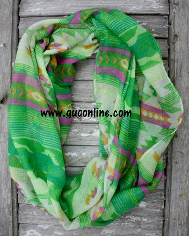 Aztec Infinity Scarf in Lime