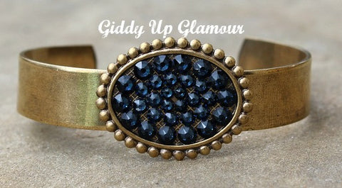 Pink Panache Bronze Cuff with Navy Blue Crystal Oval