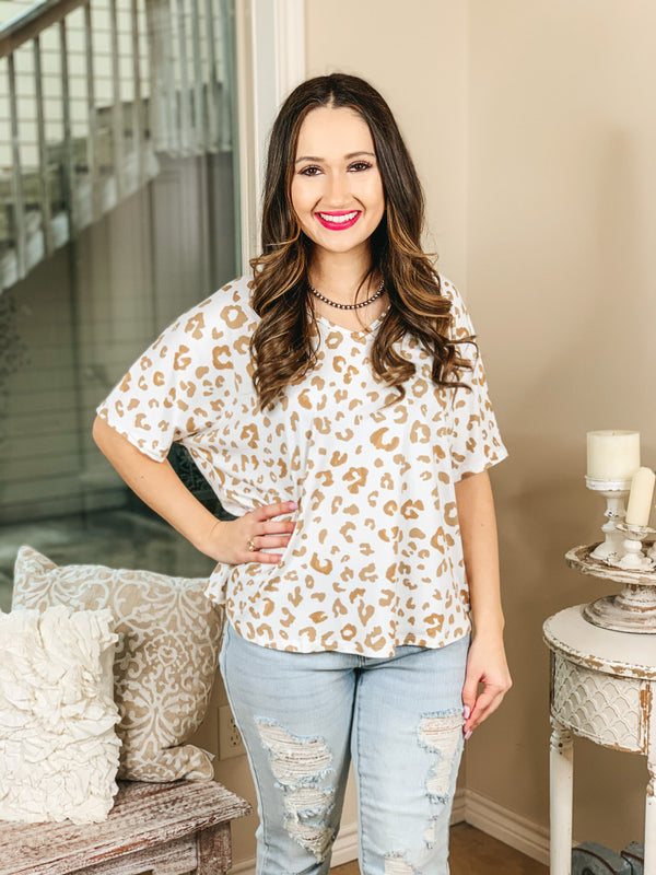 Catching Flights Leopard V Neck Shift Top in Ivory and Sand