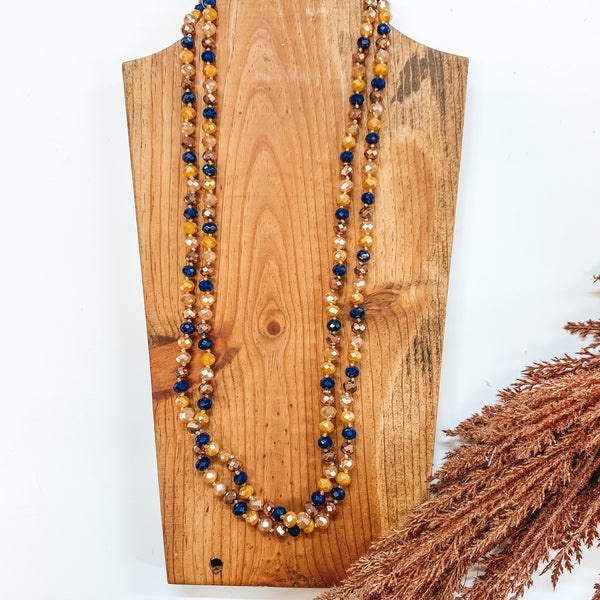 60 Inch Long 8mm Layering Crystal Strand Necklace in Bronze, Champagne, Mustard and Navy