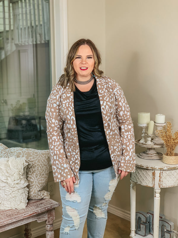 Out Of Office Leopard Print Open Front Blazer with Long Sleeves in Taupe