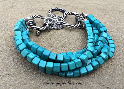 Five Strands of Turquoise Beads Bracelet