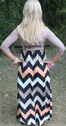Baby You're Classic Taupe Chevron Maxi Dress