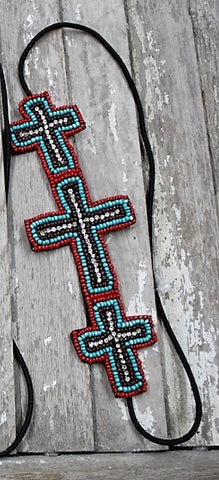 Beaded Cross Headband in Red and Turquoise