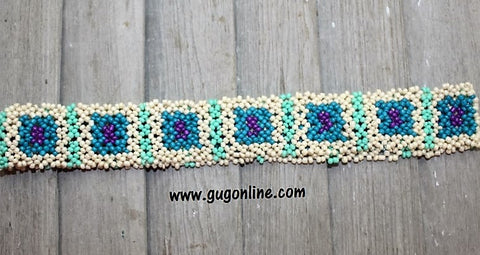 Beaded Headband in Ivory, Teal and Purple Square Design
