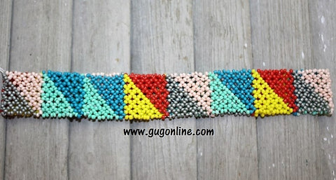 Beaded Headband in Light Pink, Teal, Mint, Yellow and Red Triangle Design