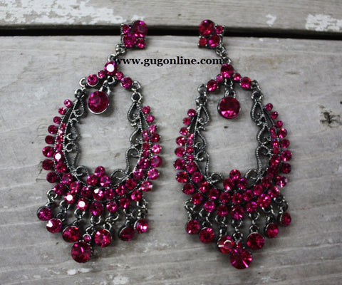 Beautiful Hot Pink Crystalized Dangle Earrings