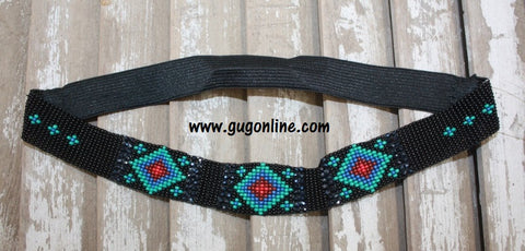 Black Beaded Headband with Teal Aztec Design